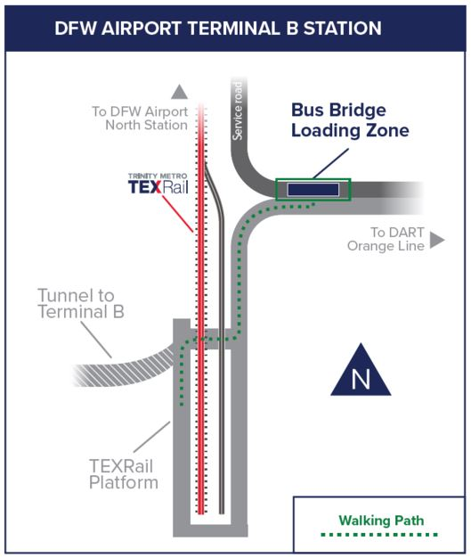 TEXRail Bridge Bus Map