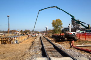 Construction workers building the new Smithfield Station for TEXRail