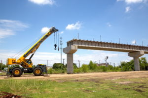 TEXRail track construction of UPRR Overpass in Haltom City, Texas