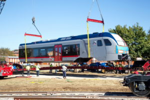 TEXRail Train unloading in Grapevine, Texas