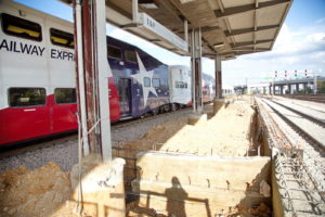 TEXRail track construction at T&P Station Fort Worth, Texas
