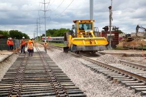 Construction of TEXRail track at Grapevine Main Street Station