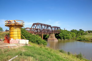 Construction of TEXRail track at Trinity River Crossing in Fort Worth, Texas