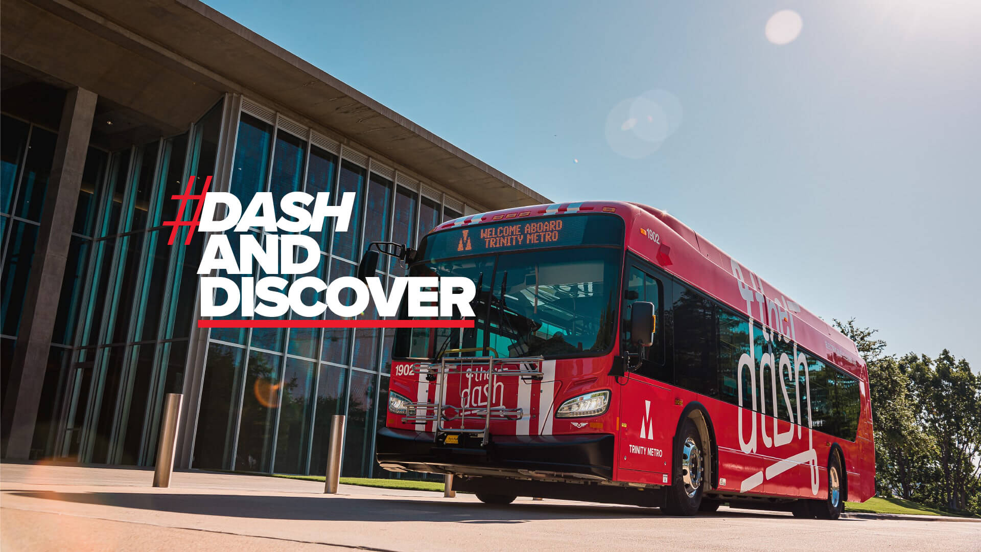 The Dash Bus with text image of the hashtag dash and discover
