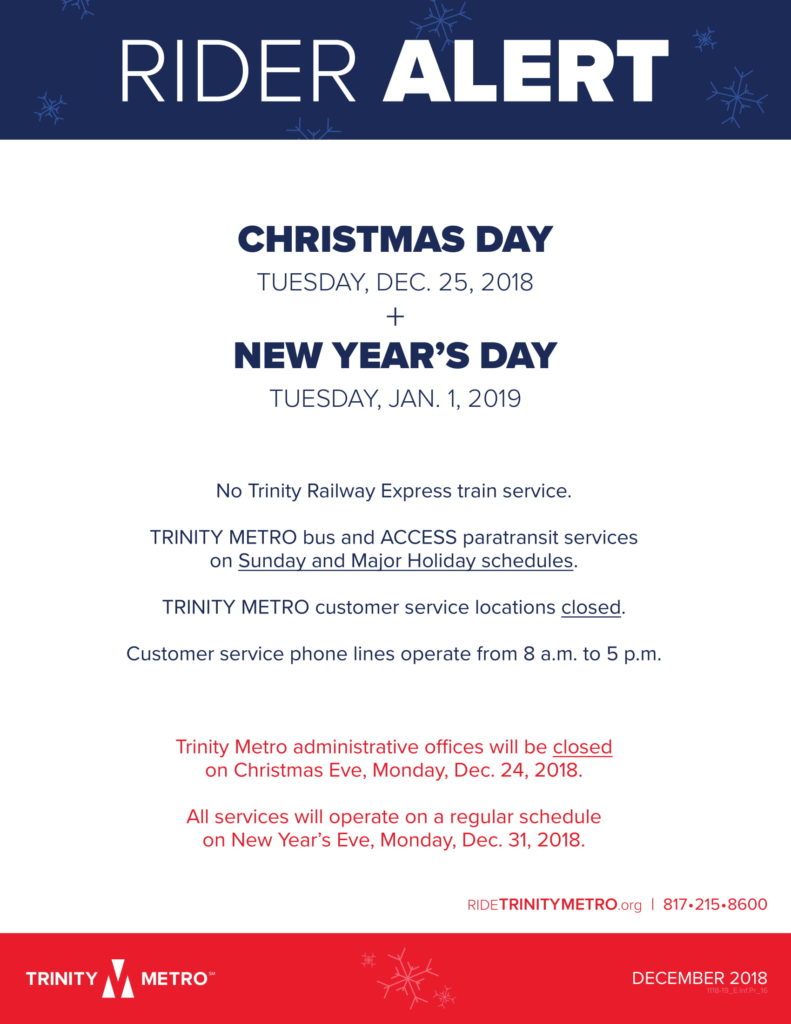 Rider Alert Christmas & New Years Day Schedule