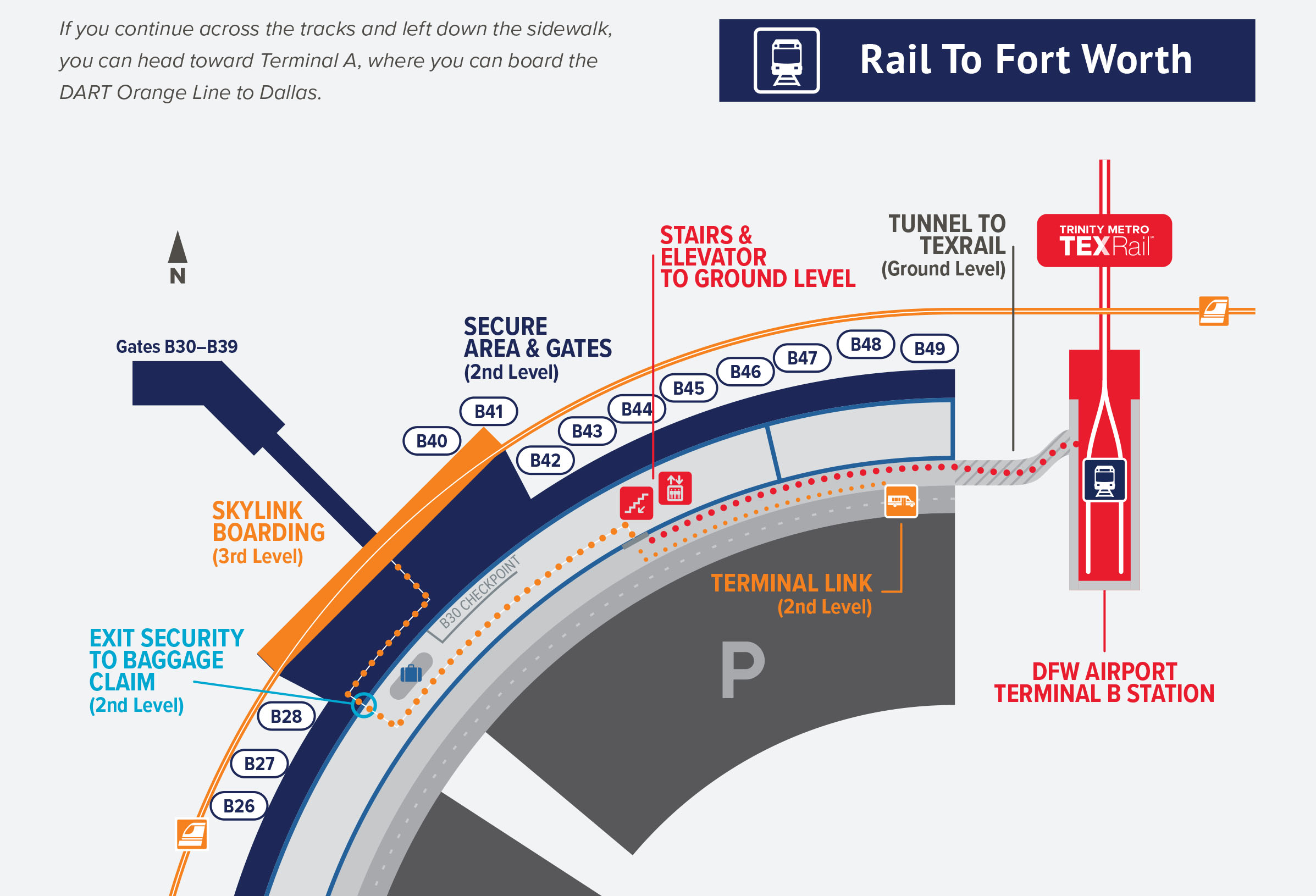 TEXRail at DFW Airport Map