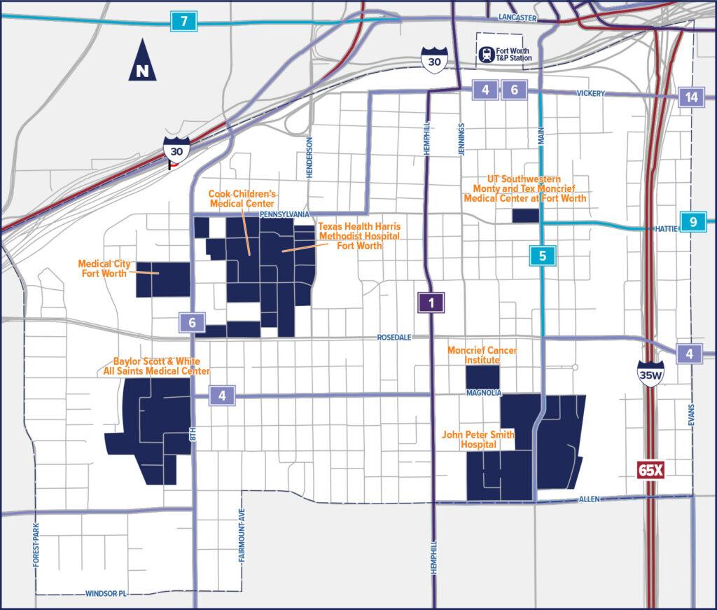 Near Southside ZIPZONE Service Area Map. Trinity Metro Blog.