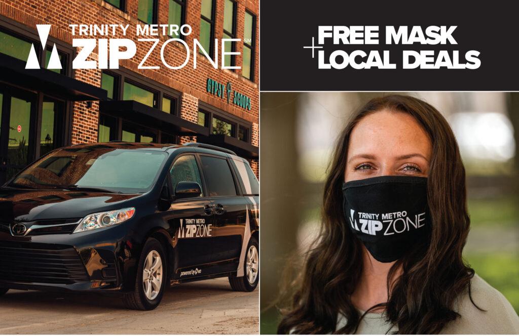 Near Southside ZIPZONE Mask Promo. Trinity Metro Blog.