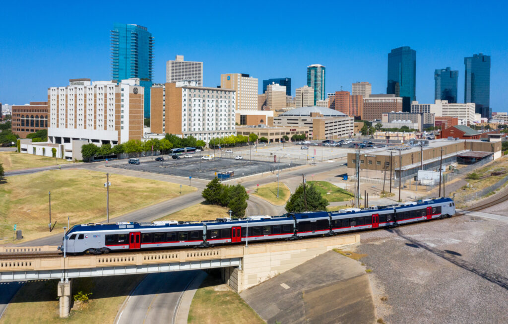 Trinity Metro TEXRail at Downtown Fort Worth. Trinity Metro Blog.