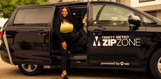 Trinity Metro ZipZone van with Passenger